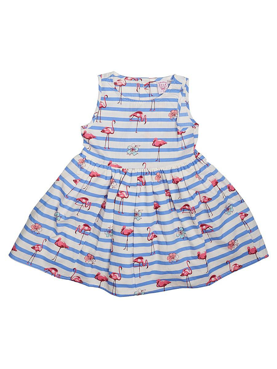 Платье для девочки Sela, цвет: индиго. Dsl-517/139-7110. Размер 104, 4 годаDsl-517/139-7110Нарядное платье для девочки Sela выполнено из натурального хлопка и оформлено ярким принтом. Модель приталенного кроя с юбкой-солнцем застегивается на пуговицы на спинке. Подкладка платья на подоле дополнена воланом из сетчатого материала для большей пышности. Платье подойдет для праздников, прогулок и дружеских встреч и станет отличным дополнением гардероба юной модницы.