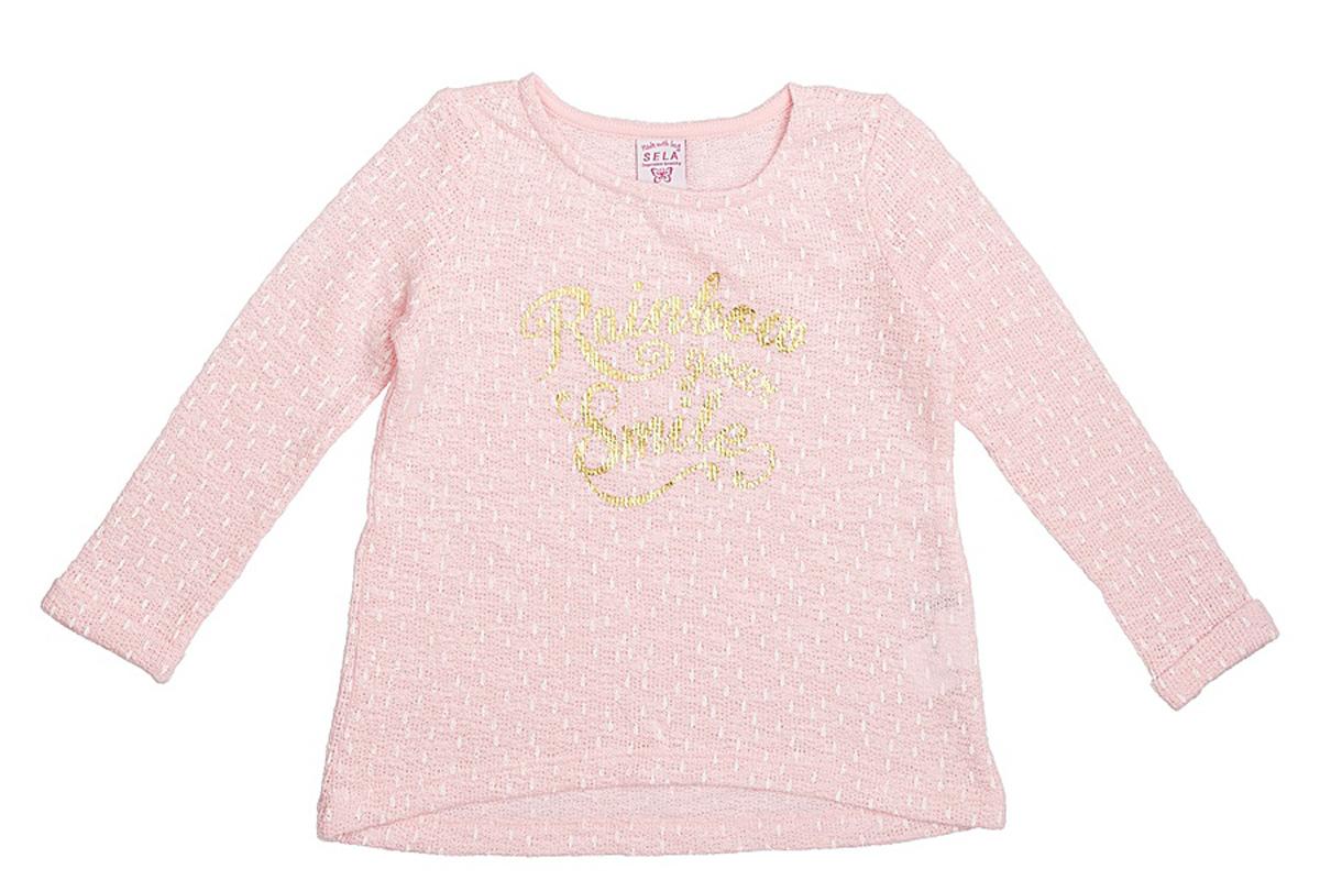 Свитшот для девочки Sela, цвет: светло-розовый. St-513/072-7121. Размер 92, 2 годаSt-513/072-7121Стильный свитшот для девочки Sela выполнен из качественного трикотажа и оформлен яркой надписью. Модель слегка расклешенного кроя подойдет для прогулок и дружеских встреч и будет отлично сочетаться с джинсами и разными брюками. Мягкая ткань на основе хлопка и полиэстера комфортна и приятна на ощупь.