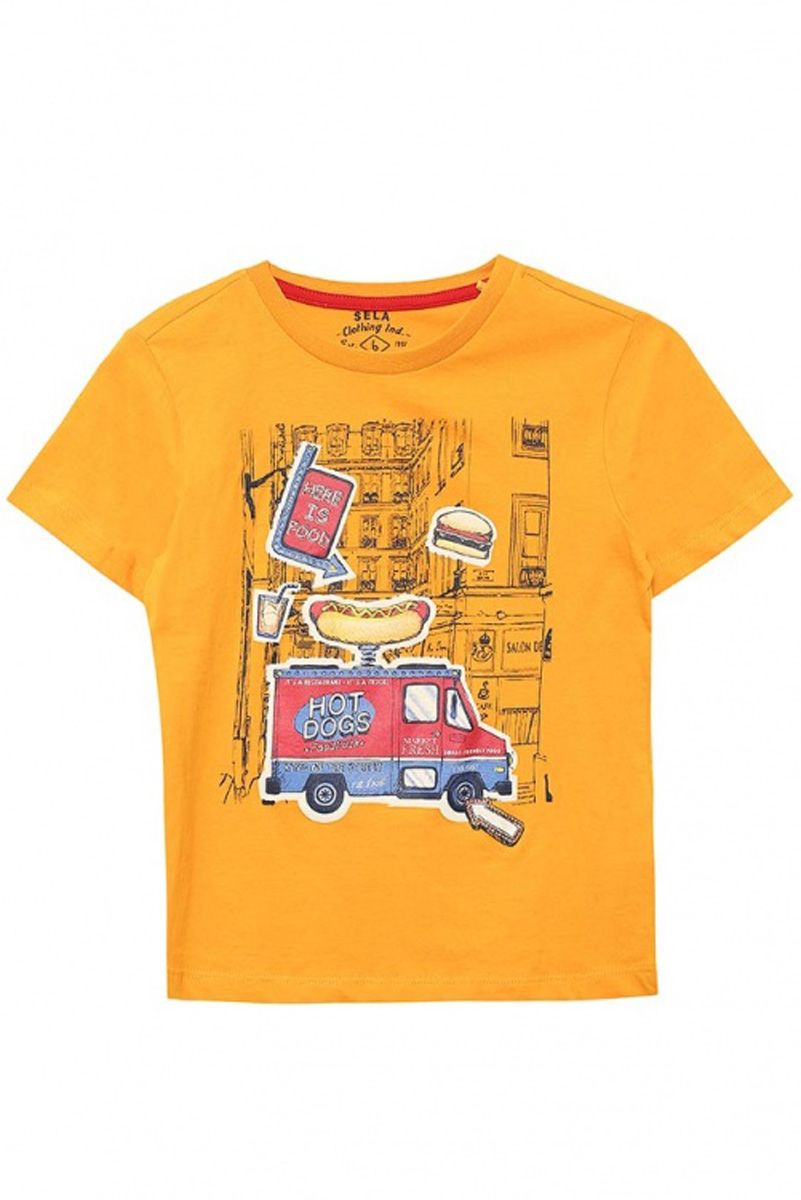 Футболка для мальчика Sela, цвет: ярко-желтый. Ts-711/510-7111. Размер 116, 6 летTs-711/510-7111Стильная футболка для мальчика Sela изготовлена из натурального хлопка и оформлена оригинальным принтом. Воротник дополнен мягкой трикотажной резинкой.Яркий цвет модели позволяет создавать модные образы.