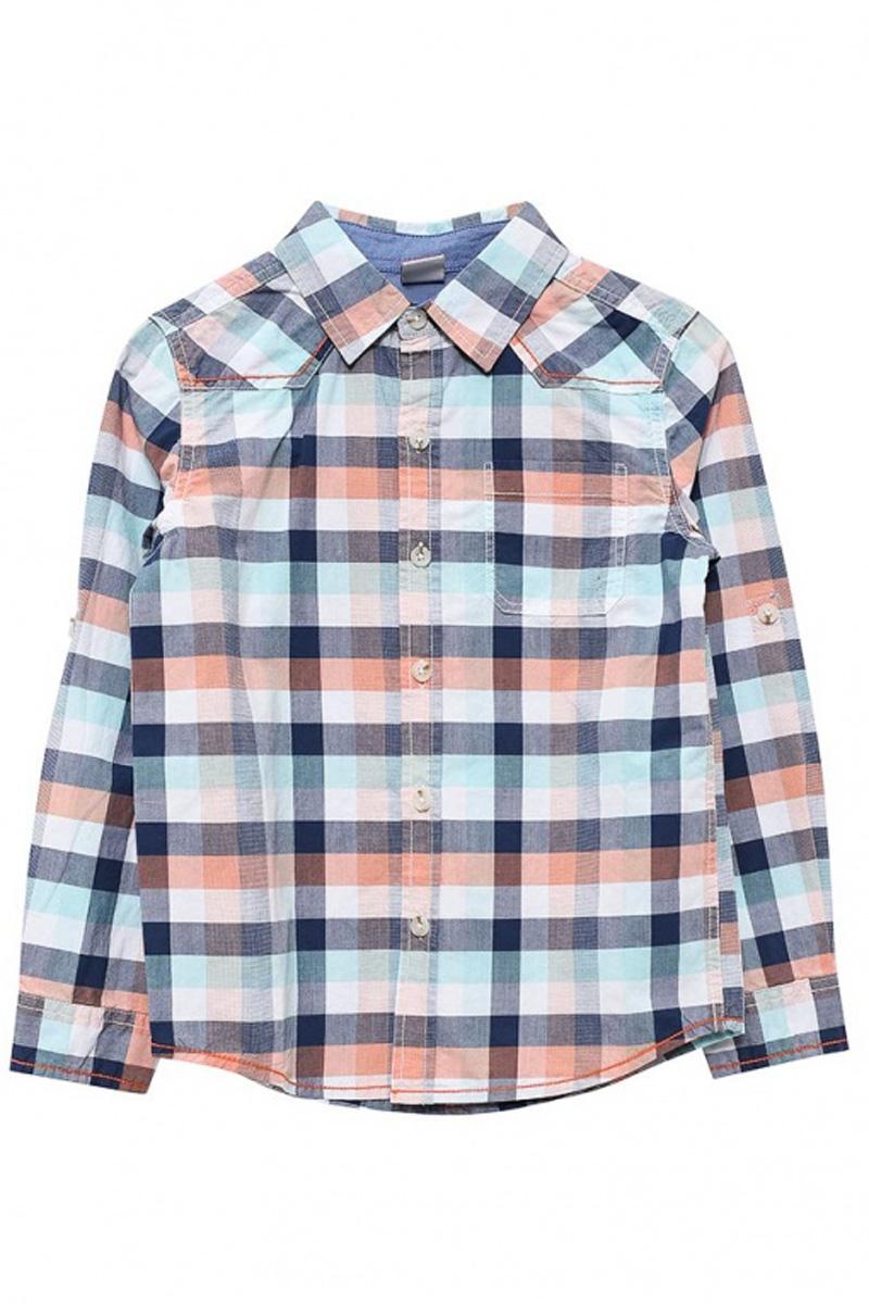 Рубашка для мальчика Sela, цвет: голубой, синий, белый. H-712/451-7111. Размер 104, 4 годаH-712/451-7111Стильная рубашка для мальчика Sela выполнена из натурального хлопка и оформлена принтом в клетку. Модель прямого кроя с длинными рукавами и отложным воротничком застегивается на пуговицы и дополнена накладным карманом на груди. Манжеты рукавов также застегиваются на пуговицы. Рукава можно подвернуть и зафиксировать при помощи хлястиков на пуговицах.