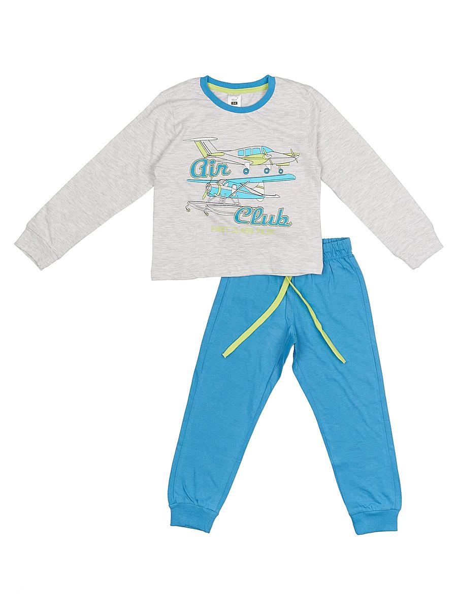 Пижама для мальчика Sela, цвет: бледно-серый меланж. PYb-7862/015-7100. Размер 116/122, 6-8 летPYb-7862/015-7100Уютная пижама для мальчика Sela, состоящая из лонгслива и брюк, станет отличным дополнением к домашнему гардеробу. Пижама изготовлена из качественного хлопкового материала, благодаря чему она приятна на ощупь и комфортна в носке. Лонгслив прямого кроя оформлен ярким принтом. Круглый вырез горловины дополнен мягкой трикотажной резинкой контрастного цвета. Рукава дополнены эластичными манжетами. Однотонные брюки полуприлегающего кроя, слегка зауженные к низу, имеют пояс на широкой резинке, дополнительно регулируемый шнурком. Низ брючин также дополнен манжетами.