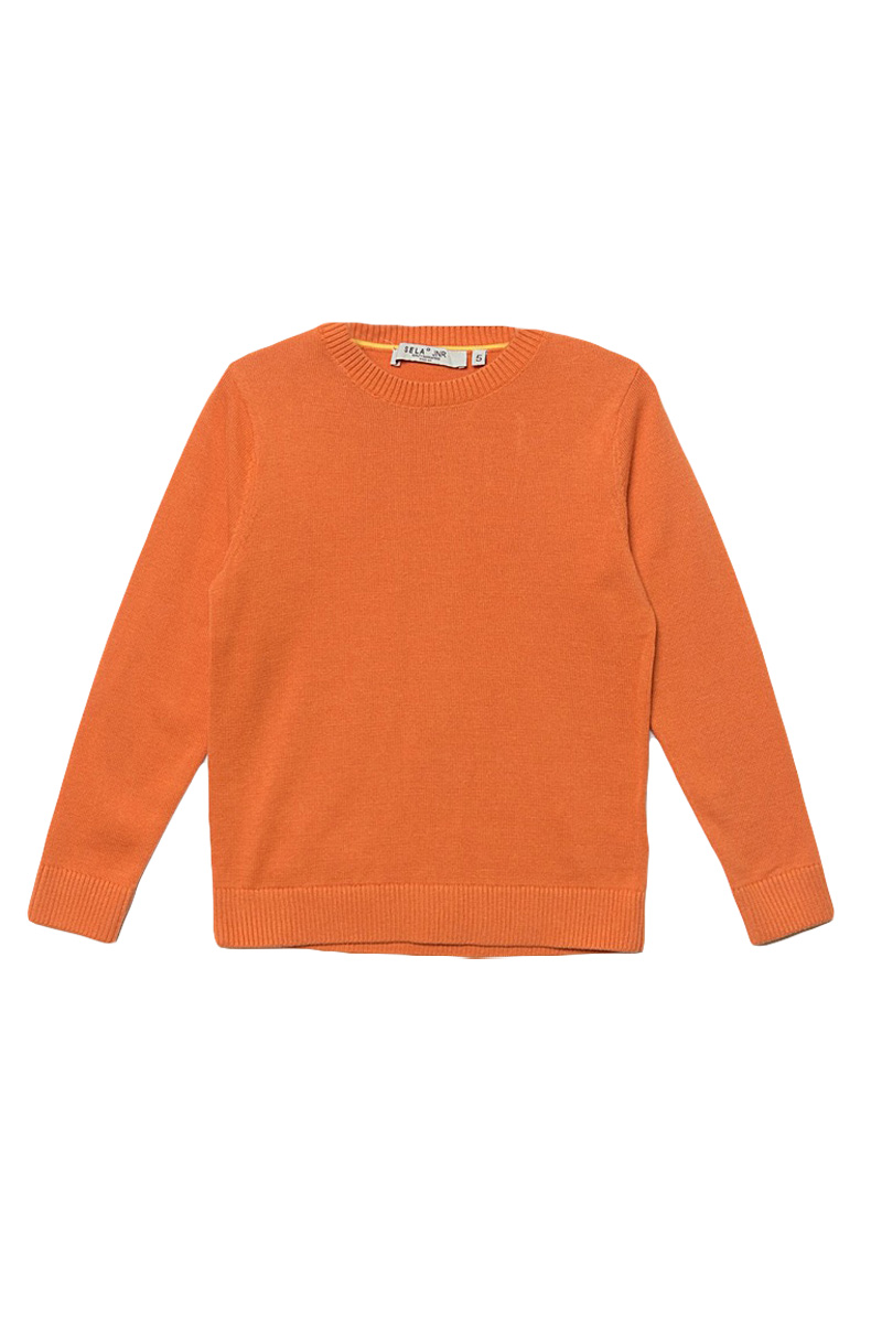 Джемпер для мальчика Sela, цвет: розово-оранжевый. JR-714/168-7161. Размер 110, 5 летJR-714/168-7161Стильный джемпер для мальчика Sela выполнен из натурального хлопка мелкой вязки. Модель прямого кроя с длинными рукавами подойдет для прогулок и дружеских встреч и будет отлично сочетаться с джинсами и брюками. Мягкая ткань комфортна и приятна на ощупь. Воротник, манжеты рукавов и низ изделия связаны резинкой.