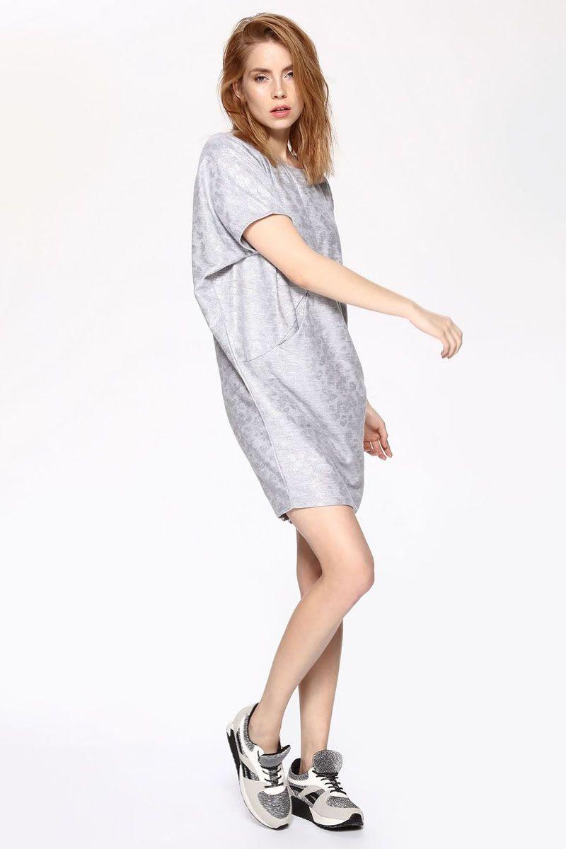 Платье Drywash, цвет: серый. DSU0066SZF. Размер 46/48DSU0066SZFПлатье Drywash выполнено из вискозы и полиэстера. Модель с круглым вырезом горловины и короткими рукавами.