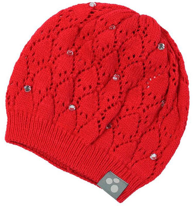 Шапка для девочки Huppa Lacy, цвет: красный. 80390000-70004. Размер L (55/57)80390000-70004Вязаная шапочка Huppa Lacy согреет вашего ребенка в прохладную погоду. Шапочка с ажурным рисунком декорирована стразами.