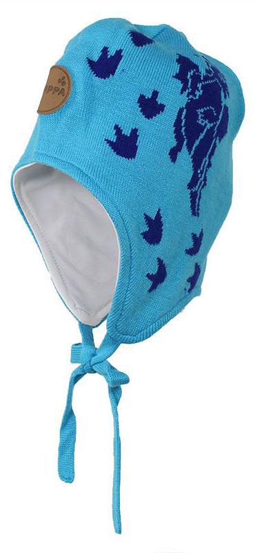 Шапка для мальчика Huppa Silby, цвет: голубой. 83710000-70046. Размер XS (43/45)83710000-70046Шапка для мальчика Huppa Silby выполнена из высококачественной пряжи из хлопка с добавлением акрила. Подкладка изготовлена из натурального хлопка. Модель дополнена завязками и имеет утепленные вставки в области ушей. Шапка фиксируется при помощи завязок, оформлена оригинальным рисунком с изображением дракончика.