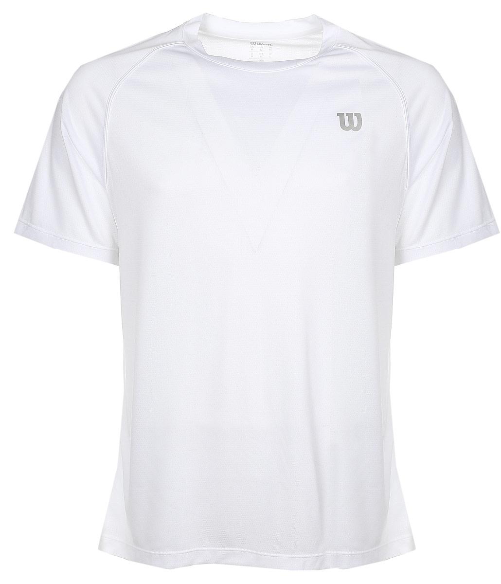 Футболка для тенниса мужская Wilson Core Crew, цвет: белый. WRA746401. Размер XL (54)WRA746401Турнирная футболка Wilson Core Crew изготовлена из полиэстера и нейлона. Модель с круглой горловиной и короткими рукавами. Новая структура ткани с перфорацией увеличивает вывод влаги (технология nanoWik) и обеспечивает максимальный контроль на протяжении долгого времени игры или тренировок.