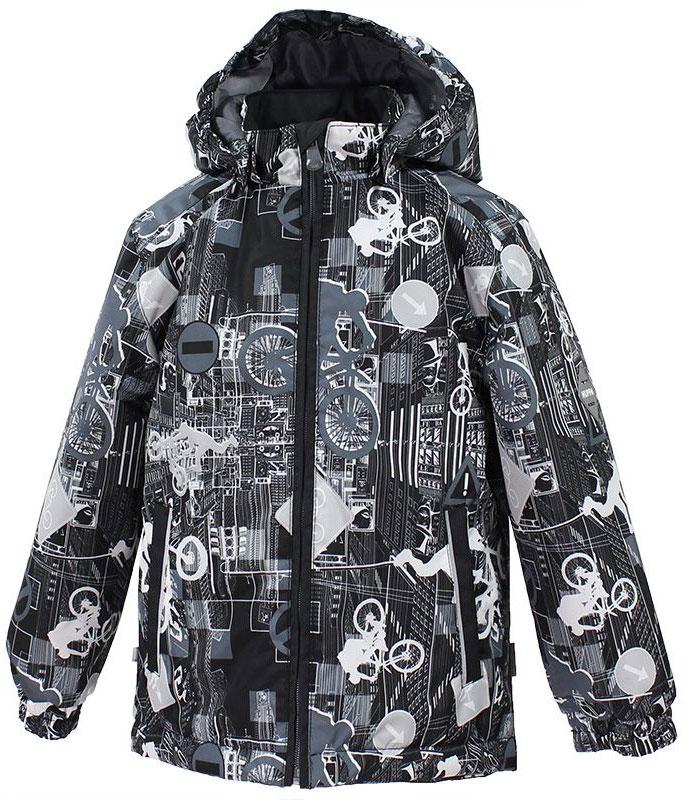 Куртка для мальчика Huppa Jody, цвет: черный, светло-серый. 17000004-72209. Размер 14617000004-72209Куртка с подкладкой для мальчика Huppa c длинными рукавами, воротником-стойкой и съемным капюшоном, выполнена из высококачественного водонепроницаемого и ветрозащитного материала на основе полиэстера. Модель застегивается на застежку-молнию с защитой подбородка спереди. Изделие имеет два прорезных кармана на застежках-молниях. Манжеты рукавов собраны на внутренние резинки. Модель оформлена оригинальным контрастным принтом. На изделии имеются светоотражательные элементы для безопасности в темное время суток.