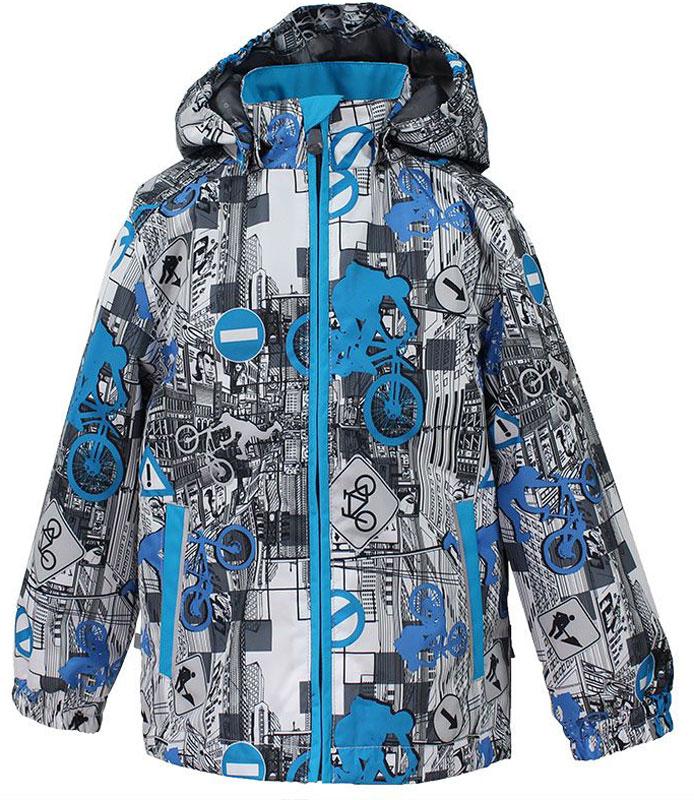 Куртка для мальчика Huppa Jody, цвет: белый, голубой, серый. 17000004-72220. Размер 12817000004-72220Куртка с подкладкой для мальчика Huppa c длинными рукавами, воротником-стойкой и съемным капюшоном, выполнена из высококачественного водонепроницаемого и ветрозащитного материала на основе полиэстера. Модель застегивается на застежку-молнию с защитой подбородка спереди. Изделие имеет два прорезных кармана на застежках-молниях. Манжеты рукавов собраны на внутренние резинки. Модель оформлена оригинальным контрастным принтом. На изделии имеются светоотражательные элементы для безопасности в темное время суток.
