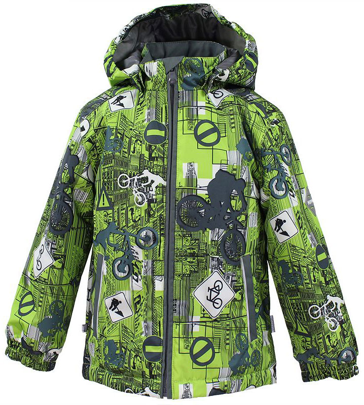 Куртка для мальчика Huppa Jody, цвет: лайм, серый. 17000004-72247. Размер 12817000004-72247Куртка с подкладкой для мальчика Huppa c длинными рукавами, воротником-стойкой и съемным капюшоном, выполнена из высококачественного водонепроницаемого и ветрозащитного материала на основе полиэстера. Модель застегивается на застежку-молнию с защитой подбородка спереди. Изделие имеет два прорезных кармана на застежках-молниях. Манжеты рукавов собраны на внутренние резинки. Модель оформлена оригинальным контрастным принтом. На изделии имеются светоотражательные элементы для безопасности в темное время суток.