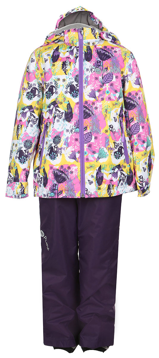Комплект одежды для девочки atPlay!: куртка, брюки, цвет: белый, розовый, фиолетовый. 1su715. Размер 116, 6-7 лет1su715Комплект одежды для девочки atPlay! состоит из куртки и брюк. Комплект изготовлен из водонепроницаемого, дышащего и ветрозащитного материала с покрытием Teflon от DuPont. Дышащая способность: 5000г/м и водонепроницаемость куртки: 5000мм. Пропитка материала предотвращает проникновение воды и грязи. В качестве наполнителя используется утеплитель нового поколения Shelter (80 гм2), который надежно сохраняет тепло.Куртка с воротником-стойка и съемным капюшоном застегивается на застежку-молнию. Капюшон крепится в куртке с помощью застежки-молнии и липучек. Манжеты рукавов оформлены широкими регулирующими хлястиками на липучках, которые предотвращают проникновение снега и ветра. Спереди модель дополнена двумя прорезными карманами на застежках-молниях, с внутренней стороны одним втачным карманом на молнии. Нижняя часть куртки регулируется с помощью эластичного шнурка со стопперами. Куртка оформлена ярким принтом.Брюки застегиваются в поясе на кнопку, липучку и ширинку на застежке-молнии. Изделие дополнено эластичными наплечными лямками с застежками-фастекс, регулируемыми по длине. Спереди находятся два втачных кармана на молниях. Снизу брючин предусмотрены внутренние манжеты с прорезиненными полосками, препятствующие попаданию снега и холодного воздуха. Брюки имеют эластичный пояс на талии.Светоотражающие элементы увеличивают безопасность вашего ребенка в темное время суток.