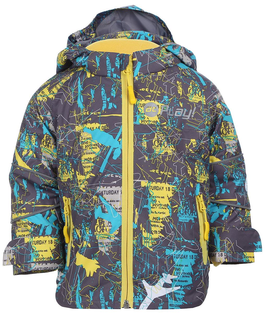 Куртка для мальчика atPlay!, цвет: серый, желтый. 2jk704. Размер 80, 1 год2jk704Удобная и комфортная куртка для мальчика atPlay! выполнена из качественного полиэстера, с покрытием Teflon от DuPont, которое облегчает уход за этой одеждой. Дышащая способность: 5000г/м и водонепроницаемость куртки: 5000мм. Куртка 2 в 1 с отстегивающейся флисовой поддевкой-кофточкой из материала Polar fleese, которая служит как утеплитель, а также ее можно носить отдельно. Такая кофточка отличное решение для весеннего периода, к тому же она изготовлена с антипиллинговой обработкой ворса для сохранения качественных характеристик на более длительный срок. Куртка с воротником-стойкой и отстегивающимся капюшоном застегивается на молнию с защитой подбородка. Манжеты рукавов дополнены широкими утягивающими хлястиками на липучках. Спереди модель оформлена двумя прорезными карманами на застежках-молниях, с внутренней стороны на поддевке-кофточке расположены два накладных кармана.Куртка оснащена светоотражающими полосками на рукавах и оформлена стильным принтом.