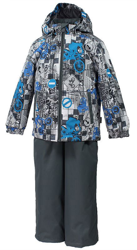 Комплект для мальчика Huppa Yoko: куртка, брюки, цвет: белый, серый, голубой. 41190004-72248. Размер 10441190004-72248Комплект верхней одежды для мальчика Huppa состоит из куртки и брюк. Комплект выполнен из водонепроницаемой и ветрозащитной ткани. Куртка с капюшоном и воротником-стойкой застегивается на пластиковую молнию. На рукавах предусмотрены манжеты, препятствующие проникновению холодного воздуха. Спереди расположены два прорезных кармана. Оформлено изделие оригинальным принтом. Брюки спереди застегиваются на пластиковую молнию. Модель дополнена эластичными наплечными лямками, регулируемыми по длине. На талии предусмотрена широкая резинка. Ширина штанин снизу регулируется.Комплект снабжен светоотражающими элементами, которые не оставят вашего ребенка незамеченным в темное время суток.
