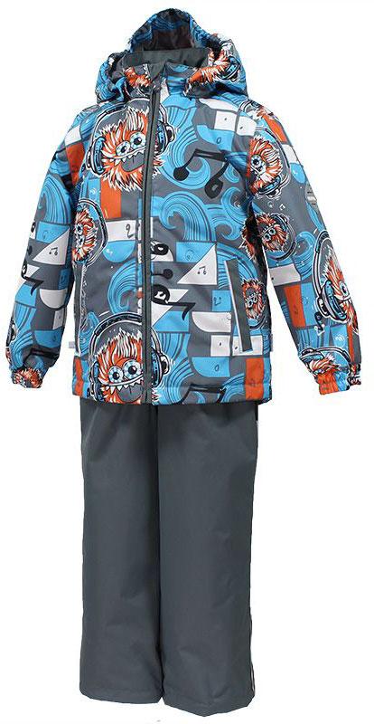 Комплект для мальчика Huppa Yoko: куртка, брюки, цвет: голубой, серый, оранжевый. 41190004-73146. Размер 9241190004-73146Комплект верхней одежды для мальчика Huppa состоит из куртки и брюк. Комплект выполнен из водонепроницаемой и ветрозащитной ткани. Куртка с капюшоном и воротником-стойкой застегивается на пластиковую молнию. На рукавах предусмотрены манжеты, препятствующие проникновению холодного воздуха. Спереди расположены два прорезных кармана. Оформлено изделие оригинальным принтом. Брюки спереди застегиваются на пластиковую молнию. Модель дополнена эластичными наплечными лямками, регулируемыми по длине. На талии предусмотрена широкая резинка. Ширина штанин снизу регулируется.Комплект снабжен светоотражающими элементами, которые не оставят вашего ребенка незамеченным в темное время суток.