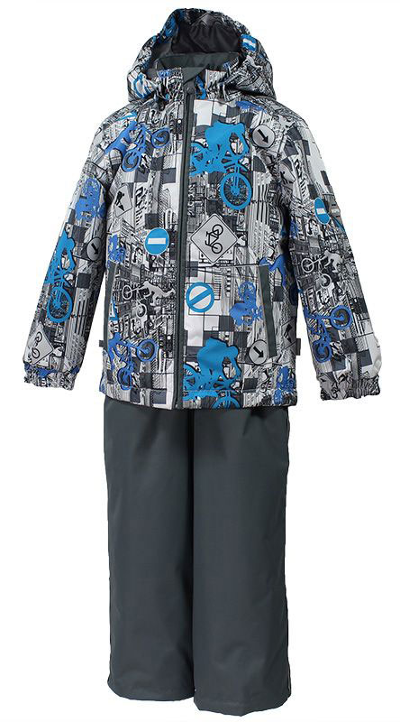 Комплект одежды для мальчика Huppa Yoko 1, цвет: серый, голубой, белый. 41190104-72248. Размер 14641190104-72248Комплект верхней одежды для мальчика Huppa Yoko выполнен из износостойкого полиэстера и состоит из куртки и брюк. В качестве подкладки и утеплителя используется полиэстер. Ткань имеет водонепроницаемость 10000 мм, воздухопроницаемость 10000 г/м2. Брюки застегиваются на молнию и металлическую кнопку. Изделие дополнено съемными резиновыми подтяжками, длину которых можно регулировать. На талии имеется вшитая эластичная резинка. Снизу брючин предусмотрены шнурки-утяжки со стопперами. Куртка со съемным капюшоном и воротником-стойкой застегивается на молнию. Капюшон пристегивается при помощи кнопок. Манжеты рукавов собраны на внутренние резинки, низ куртки оснащен эластичным шнурком. Спереди модель дополнена двумя врезными карманами.Комплект оснащен светоотражающими элементами.
