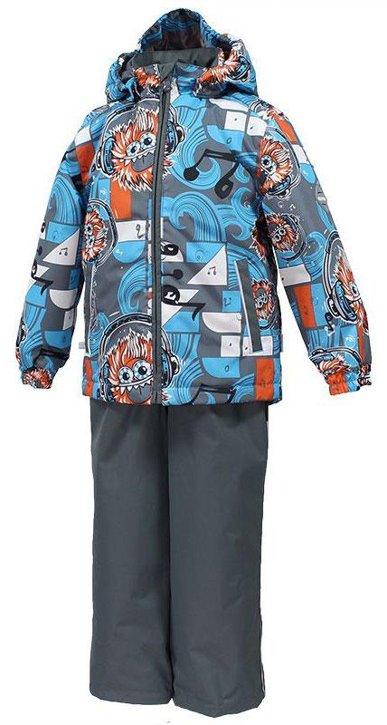Комплект одежды для мальчика Huppa Yoko 1, цвет: серый, голубой, оранжевый. 41190104-73146. Размер 14641190104-73146Комплект верхней одежды для мальчика Huppa Yoko выполнен из износостойкого полиэстера и состоит из куртки и брюк. В качестве подкладки и утеплителя используется полиэстер. Ткань имеет водонепроницаемость 10000 мм, воздухопроницаемость 10000 г/м2. Брюки застегиваются на молнию и металлическую кнопку. Изделие дополнено съемными резиновыми подтяжками, длину которых можно регулировать. На талии имеется вшитая эластичная резинка. Снизу брючин предусмотрены шнурки-утяжки со стопперами. Куртка со съемным капюшоном и воротником-стойкой застегивается на молнию. Капюшон пристегивается при помощи кнопок. Манжеты рукавов собраны на внутренние резинки, низ куртки оснащен эластичным шнурком. Спереди модель дополнена двумя врезными карманами.Комплект оснащен светоотражающими элементами.