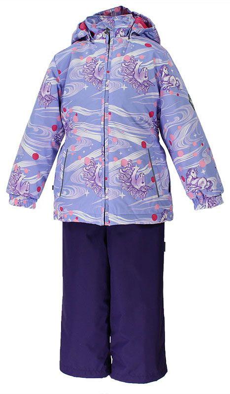 Комплект для девочки Huppa Yonne: куртка, брюки, цвет: лиловый, голубой. 41260004-71143. Размер 10441260004-71143Комплект верхней одежды для девочки Huppa состоит из куртки и брюк. Комплект выполнен из водонепроницаемой и ветрозащитной ткани. Куртка с капюшоном и воротником-стойкой застегивается на пластиковую молнию. На рукавах предусмотрены манжеты, препятствующие проникновению холодного воздуха. Спереди расположены два прорезных кармана. Оформлено изделие ярким принтом. Брюки спереди застегиваются на пластиковую молнию. Модель дополнена эластичными наплечными лямками, регулируемыми по длине. На талии предусмотрена широкая резинка. Ширина штанин снизу регулируется.Комплект снабжен светоотражающими элементами, которые не оставят вашего ребенка незамеченным в темное время суток.