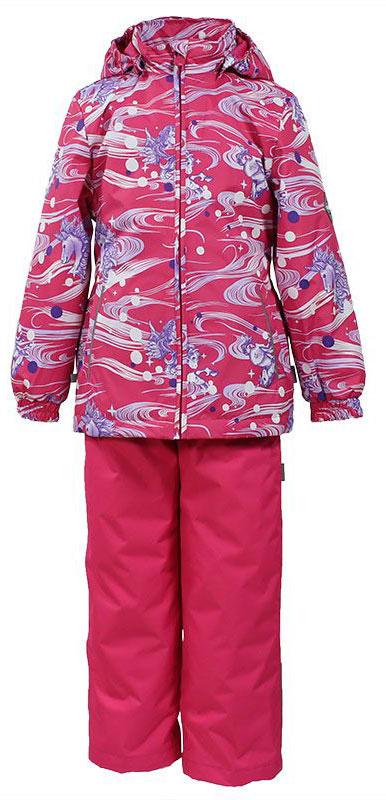 Комплект для девочки Huppa Yonne: куртка, брюки, цвет: фуксия. 41260004-71163. Размер 12241260004-71163Комплект верхней одежды для девочки Huppa состоит из куртки и брюк. Комплект выполнен из водонепроницаемой и ветрозащитной ткани. Куртка с капюшоном и воротником-стойкой застегивается на пластиковую молнию. На рукавах предусмотрены манжеты, препятствующие проникновению холодного воздуха. Спереди расположены два прорезных кармана. Оформлено изделие ярким принтом. Брюки спереди застегиваются на пластиковую молнию. Модель дополнена эластичными наплечными лямками, регулируемыми по длине. На талии предусмотрена широкая резинка. Ширина штанин снизу регулируется.Комплект снабжен светоотражающими элементами, которые не оставят вашего ребенка незамеченным в темное время суток.