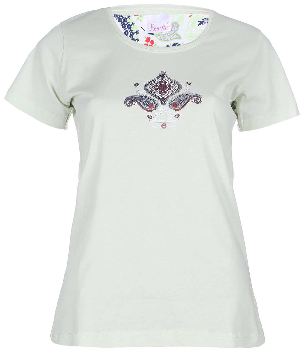 Костюм домашний женский Vienettas Secret Цветок: футболка, бриджи, цвет: светло-фисташковый, мультиколор. 602128 4002. Размер L (48)602128 4002Домашний женский костюм Vienettas Secret Цветок включает в себя удобную футболку и бриджи. Костюм выполнен из натурального хлопка. Футболка изготовлена с круглым вырезом горловины и короткими рукавами. Бриджи имеют эластичный пояс и затягивающийся шнурок. Оформлен костюм стильным принтом с узорами.