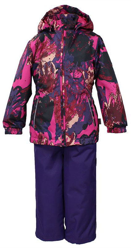 Комплект для девочки Huppa Yonne: куртка, брюки, цвет: фуксия, темно-лиловый. 41260004-71263. Размер 11041260004-71263Комплект верхней одежды для девочки Huppa состоит из куртки и брюк. Комплект выполнен из водонепроницаемой и ветрозащитной ткани. Куртка с капюшоном и воротником-стойкой застегивается на пластиковую молнию. На рукавах предусмотрены манжеты, препятствующие проникновению холодного воздуха. Спереди расположены два прорезных кармана. Оформлено изделие ярким принтом. Брюки спереди застегиваются на пластиковую молнию. Модель дополнена эластичными наплечными лямками, регулируемыми по длине. На талии предусмотрена широкая резинка. Ширина штанин снизу регулируется.Комплект снабжен светоотражающими элементами, которые не оставят вашего ребенка незамеченным в темное время суток.