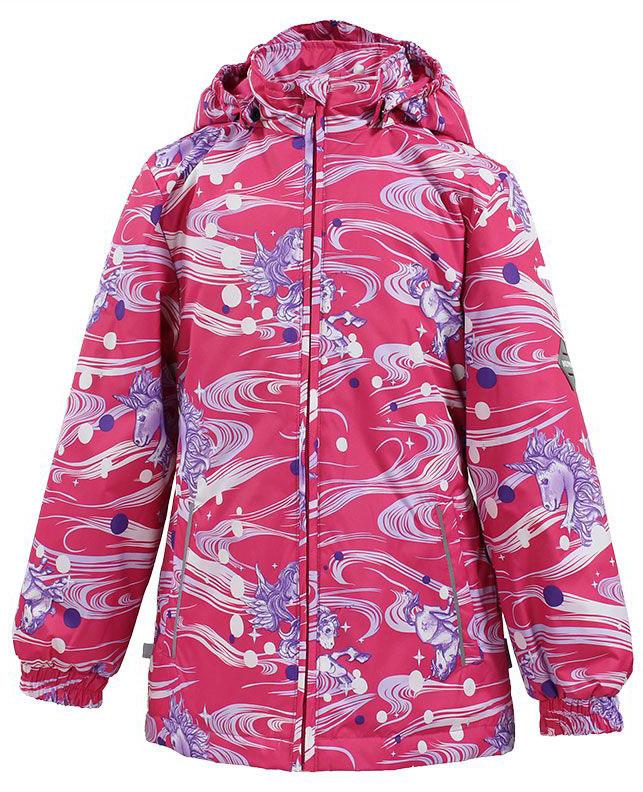 Куртка для девочки Huppa Joly, цвет: розовый, белый, сиреневый. 17840010-71163. Размер 12217840010-71163Куртка для девочки Huppa Joly изготовлена из водонепроницаемого полиэстера. Куртка со съемным капюшоном застегивается на пластиковую застежку-молнию. Высокотехнологичный лёгкий синтетический утеплитель нового поколения, сохраняет объём и высокую теплоизоляцию изделия. Края капюшона и рукавов дополнены резинками. Сзади на талии ткань собрана на внутренние резинки. У модели имеются два врезных кармана. Изделие дополнено светоотражающими элементами.