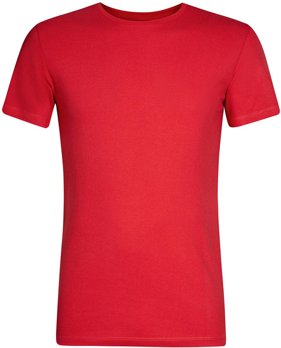 Футболка мужская oodji Basic, цвет: ярко-красный. 5B611003M/44135N/4500N. Размер M (50)5B611003M/44135N/4500NКомфортная мужская футболка от oodji с короткими рукавами и круглым вырезом горловины выполнена из натурального хлопка.