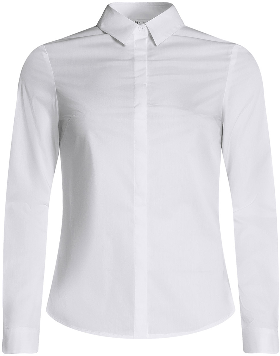Рубашка женская oodji Ultra, цвет: белый. 11403228B/42083/1000N. Размер 44-170 (50-170)11403228B/42083/1000NКлассическая женская рубашка выполнена из комбинированного материала. Модель с длинными рукавами и отложным воротником застегивается на пуговицы, скрытые планкой.