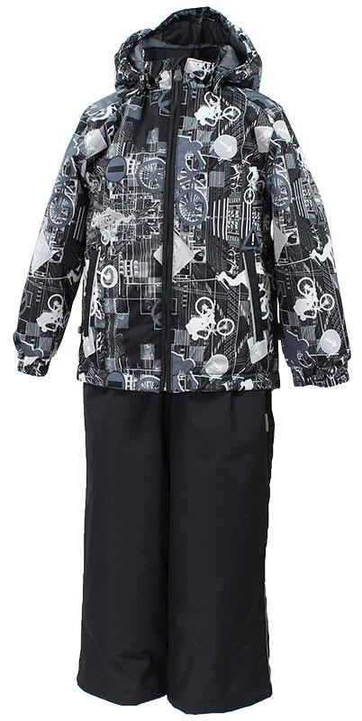 Комплект для мальчика Huppa Yoko: куртка, брюки, цвет: черный, серый. 41190014-72209. Размер 11641190014-72209Комплект верхней одежды для мальчика Huppa состоит из куртки и брюк. Комплект выполнен из водонепроницаемой и ветрозащитной ткани. Куртка с капюшоном и воротником-стойкой застегивается на пластиковую молнию. На рукавах предусмотрены манжеты, препятствующие проникновению холодного воздуха. Спереди расположены два прорезных кармана. Оформлено изделие оригинальным принтом. Брюки спереди застегиваются на пластиковую молнию. Модель дополнена эластичными наплечными лямками, регулируемыми по длине. На талии предусмотрена широкая резинка. Ширина штанин снизу регулируется.Комплект снабжен светоотражающими элементами, которые не оставят вашего ребенка незамеченным в темное время суток.
