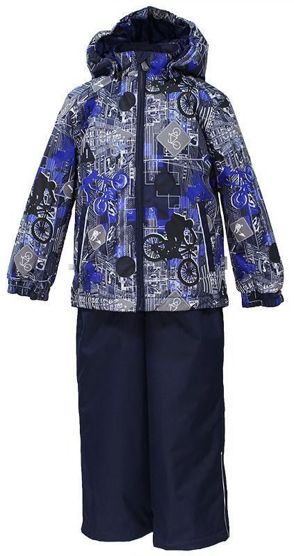 Комплект для мальчика Huppa Yoko: куртка, брюки, цвет: темно-синий, серый. 41190014-72286. Размер 11641190014-72286Комплект верхней одежды для мальчика Huppa состоит из куртки и брюк. Комплект выполнен из водонепроницаемой и ветрозащитной ткани. Куртка с капюшоном и воротником-стойкой застегивается на пластиковую молнию. На рукавах предусмотрены манжеты, препятствующие проникновению холодного воздуха. Спереди расположены два прорезных кармана. Оформлено изделие оригинальным принтом. Брюки спереди застегиваются на пластиковую молнию. Модель дополнена эластичными наплечными лямками, регулируемыми по длине. На талии предусмотрена широкая резинка. Ширина штанин снизу регулируется.Комплект снабжен светоотражающими элементами, которые не оставят вашего ребенка незамеченным в темное время суток.
