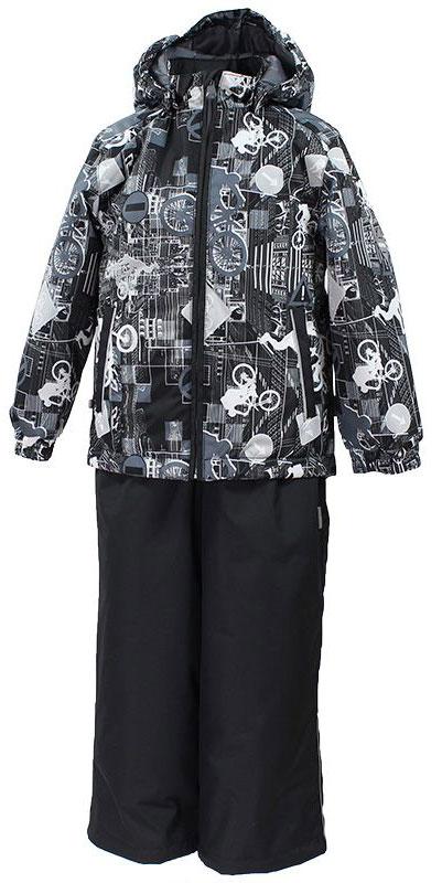 Комплект одежды для мальчика Huppa Yoko 1: куртка, брюки, цвет: черный, белый. 41190114-72209. Размер 12841190114-72209Комплект верхней одежды для мальчика Huppa Yoko выполнен из износостойкого полиэстера и состоит из куртки и брюк. В качестве подкладки и утеплителя используется качественный полиэстер. Брюки застегиваются на молнию и металлическую кнопку. Изделие дополнено съемными резиновыми подтяжками, длину которых можно регулировать. На талии имеется вшитая эластичная резинка. Снизу брючин предусмотрены шнурки-утяжки со стопперами. Куртка со съемным капюшоном и воротником-стойкой застегивается на пластиковую молнию. Капюшон пристегивается при помощи металлических кнопок. Манжеты рукавов собраны на внутренние резинки, низ куртки оснащен эластичным шнурком. Спереди модель дополнена двумя врезными карманами.Комплект оснащен светоотражающими элементами.