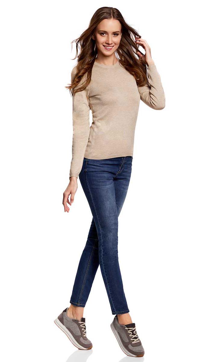 Джемпер женский oodji Collection, цвет: бежевый меланж. 73812659B/45641/3300M. Размер XS (42)73812659B/45641/3300MУютный женский джемпер с круглым вырезом горловины и длинными рукавами выполнен из вискозного материала.