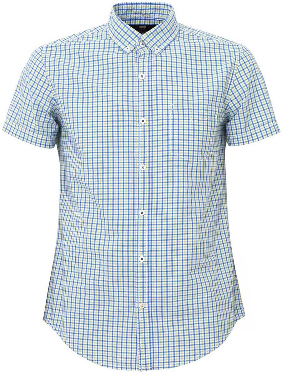 Рубашка мужская oodji Lab, цвет: синий, зеленый. 3L410064M/39457N/7562C. Размер XS-182 (44-182)3L410064M/39457N/7562CМужская рубашка от oodji выполнена из натурального хлопка. Модель с короткими рукавами застегивается на пуговицы.