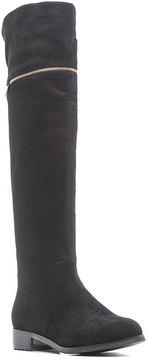Ботфорты женские Vivian Royal, цвет: черный. W2039-1. Размер 37W2039-1Стильные женские ботфорты от Vivian Royal выполнены из искусственной замши. Подкладка и стелька из искусственного меха не дадут ногам замерзнуть. Боковая застежка-молния позволяет легко снимать и надевать модель. Верхняя часть голенища дополнена вырезом. Подошва и невысокий каблук дополнены рифлением.