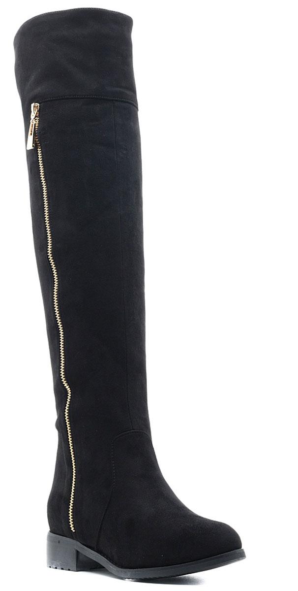 Ботфорты женские Vivian Royal, цвет: черный. W2040-1. Размер 39W2040-1Стильные женские ботфорты от Vivian Royal выполнены из искусственной замши. Подкладка и стелька из искусственного меха не дадут ногам замерзнуть. Боковая застежка-молния позволяет легко снимать и надевать модель. Боковая сторона голенища оформлена декоративной молнией, сверху - вырезом. Подошва и невысокий каблук дополнены рифлением.