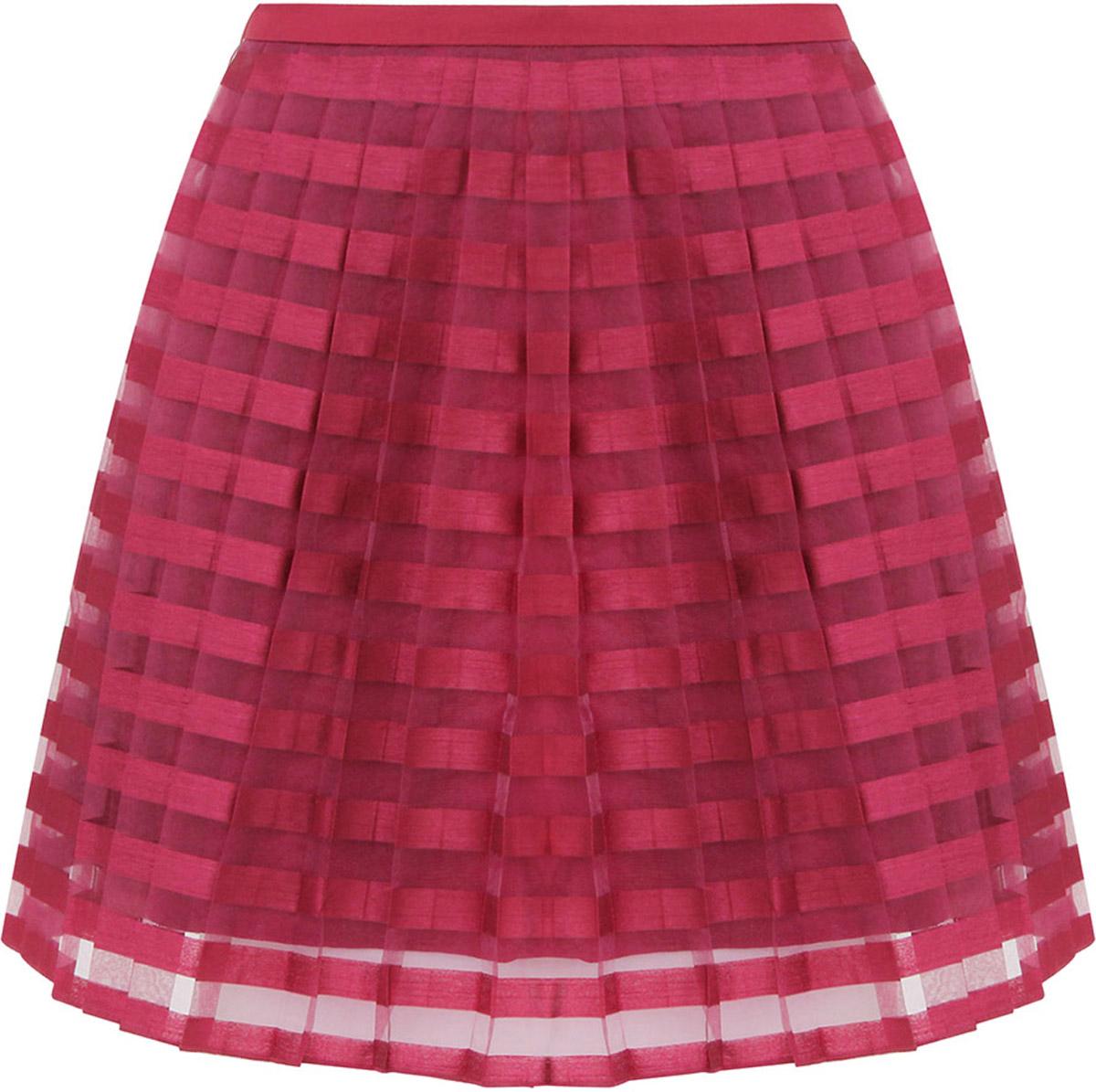 Юбка oodji Ultra, цвет: бордовый. 11606044/42812/4900N. Размер 34-170 (40-170)11606044/42812/4900NЛегкая юбка в складочку выполнена из высококачественного материала. Верхний слой юбки изготовлен из полупрозрачной ткани.
