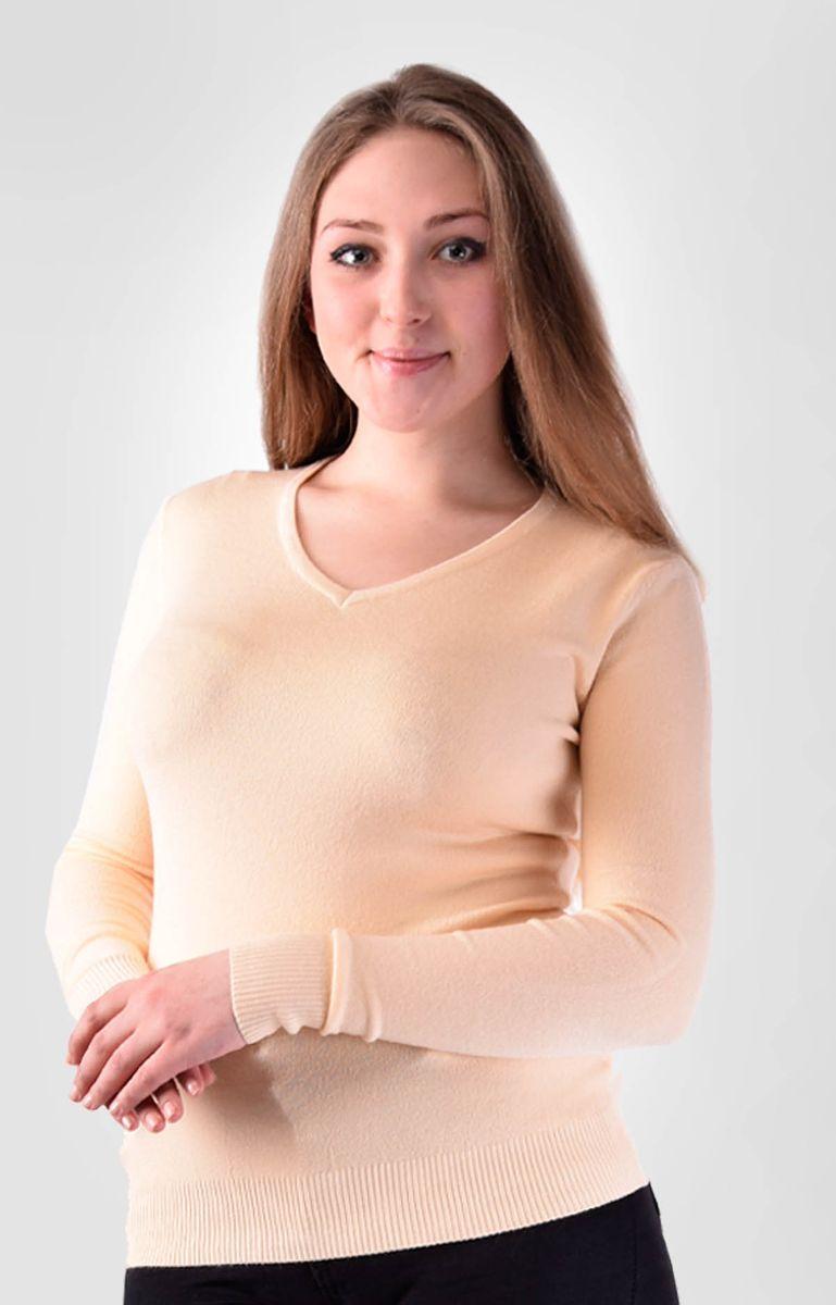 Джемпер женский Milanika, цвет: персиковый. 014499. Размер 46/52014499Женский джемпер Milanika изготовлен из хлопка с добавлением вискозы и кашемира. Однотонная модель имеет V-образный вырез горловины и длинные рукава.