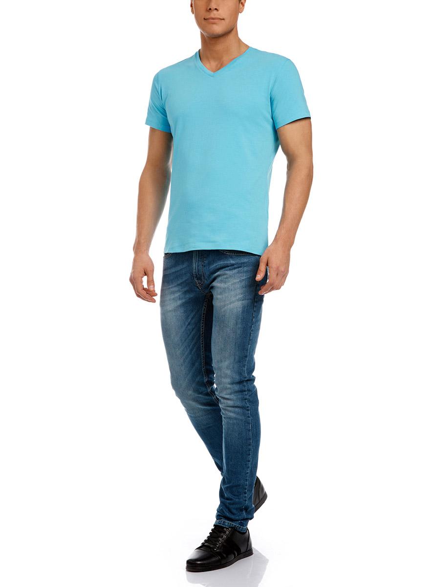 Футболка мужская oodji Basic, цвет: бирюзовый. 5B612000M/39230N/7300N. Размер XS (44)5B612000M/39230N/7300NМужская футболка oodji изготовлена из натурального высококачественного хлопка с добавлением эластана. Выполнена с V-образным воротом и классическими короткими рукавами.