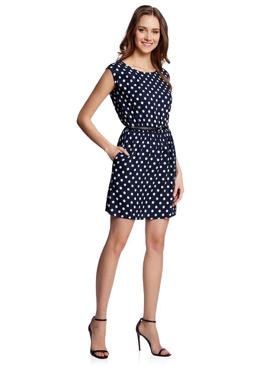 Платье oodji Ultra, цвет: темно-синий, белый горох. 11910073-2/45470/7912D. Размер 36-164 (42-164)11910073-2/45470/7912DПлатье oodji Ultra выполнено из легкой струящейся ткани и оформлено оригинальным принтом. Модель мини-длины с круглым вырезом горловины и короткими рукавами дополнена двумя прорезными карманами на юбке.В комплект с платьемвходит узкий ремень из искусственной кожи с металлической пряжкой.