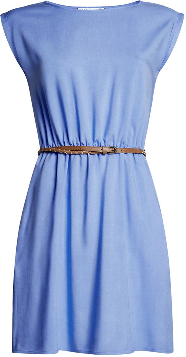 Платье oodji Ultra, цвет: голубой. 11910073B/26346/7501N. Размер 36-170 (42-170)11910073B/26346/7501NПлатье oodji Ultra, выгодно подчеркивающее достоинства фигуры, выполнено из легкой струящейся ткани. Модель мини-длины с круглым вырезом горловины и короткими рукавами дополнена двумя прорезными карманами на юбке.В комплект с платьемвходит узкий ремень из искусственной кожи с металлической пряжкой.