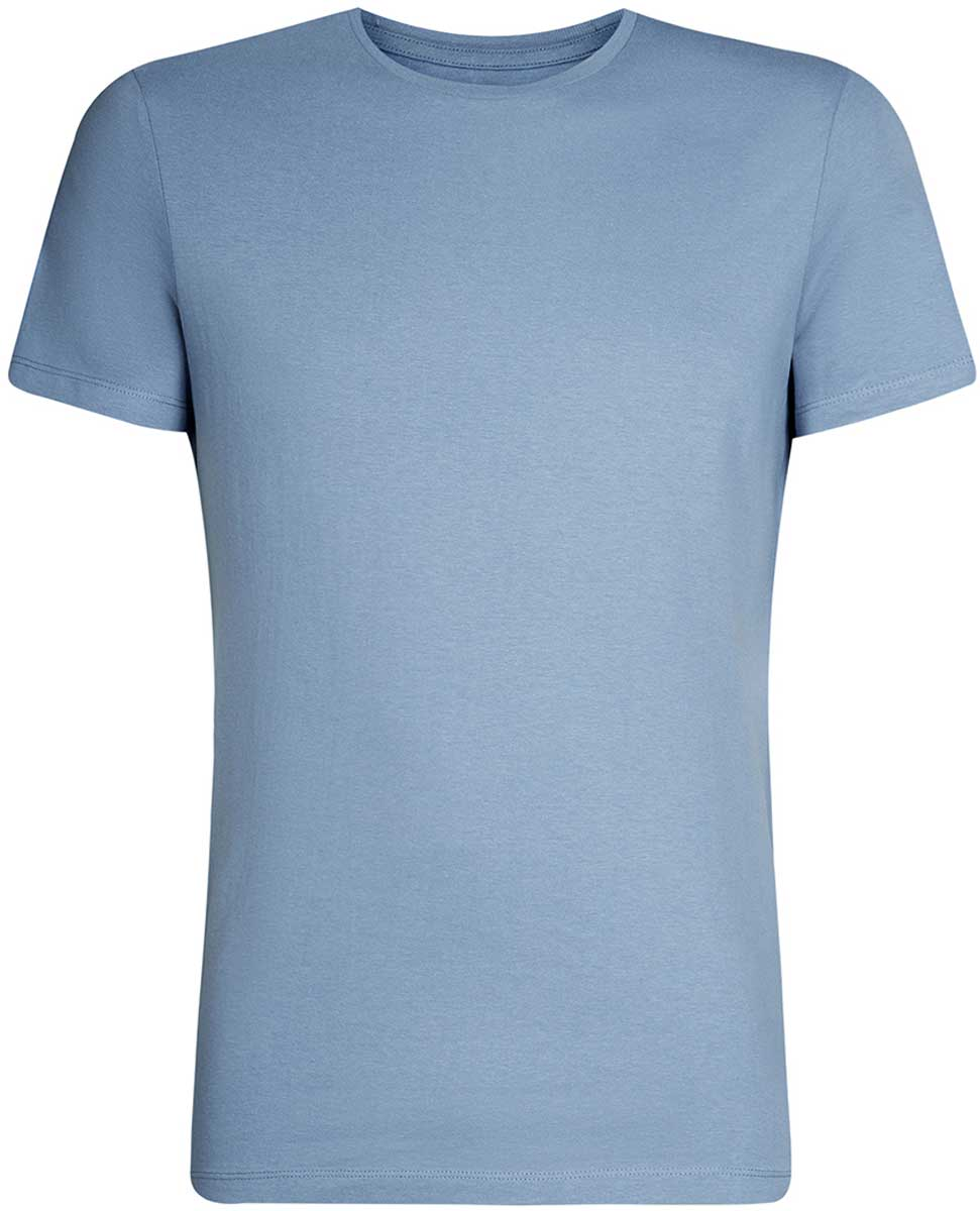 Футболка мужская oodji Basic, цвет: голубой. 5B611003M/44135N/7400N. Размер M (50)5B611003M/44135N/7400NКомфортная мужская футболка от oodji с короткими рукавами и круглым вырезом горловины выполнена из натурального хлопка.