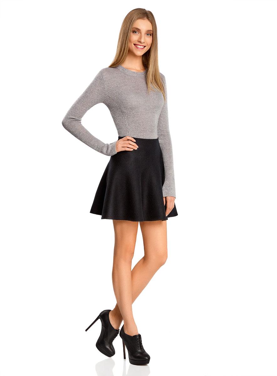 Юбка oodji Ultra, цвет: черный. 63612030/46096/2900N. Размер XS (42)63612030/46096/2900NСтильная юбка-клеш выполнена из высококачественного материала.
