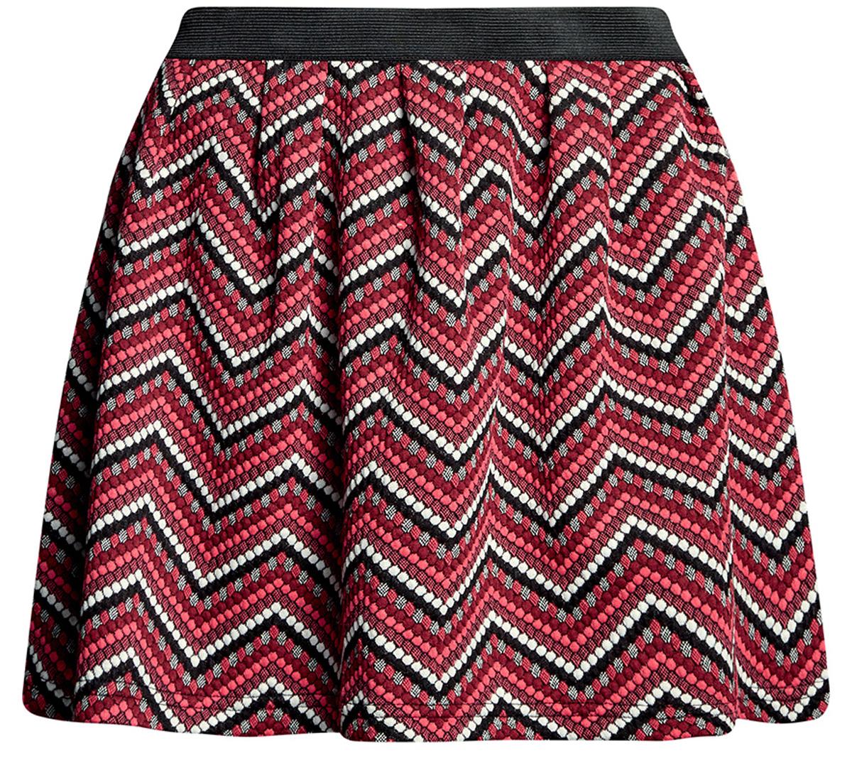 Юбка oodji Ultra, цвет: черный, ярко-розовый. 14100019-4/46478/294DS. Размер XS (42)14100019-4/46478/294DSРасклешенная мини-юбка выполнена из фактурной ткани. Сзади юбка застегивается на металлическую застежку-молнию.