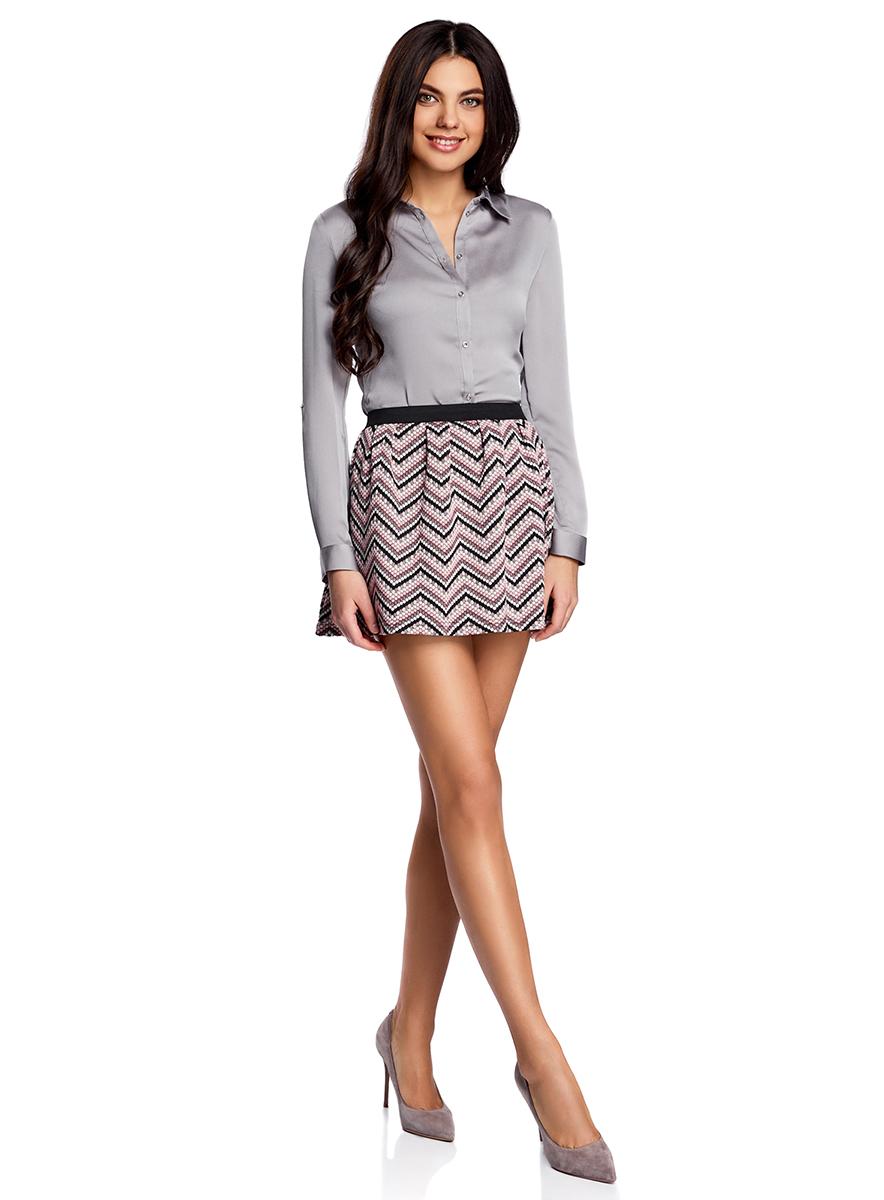 Юбка oodji Ultra, цвет: черный, розовый. 14100019-4/46478/2941S. Размер S (44)14100019-4/46478/2941SРасклешенная мини-юбка выполнена из фактурной ткани. Сзади юбка застегивается на металлическую застежку-молнию.