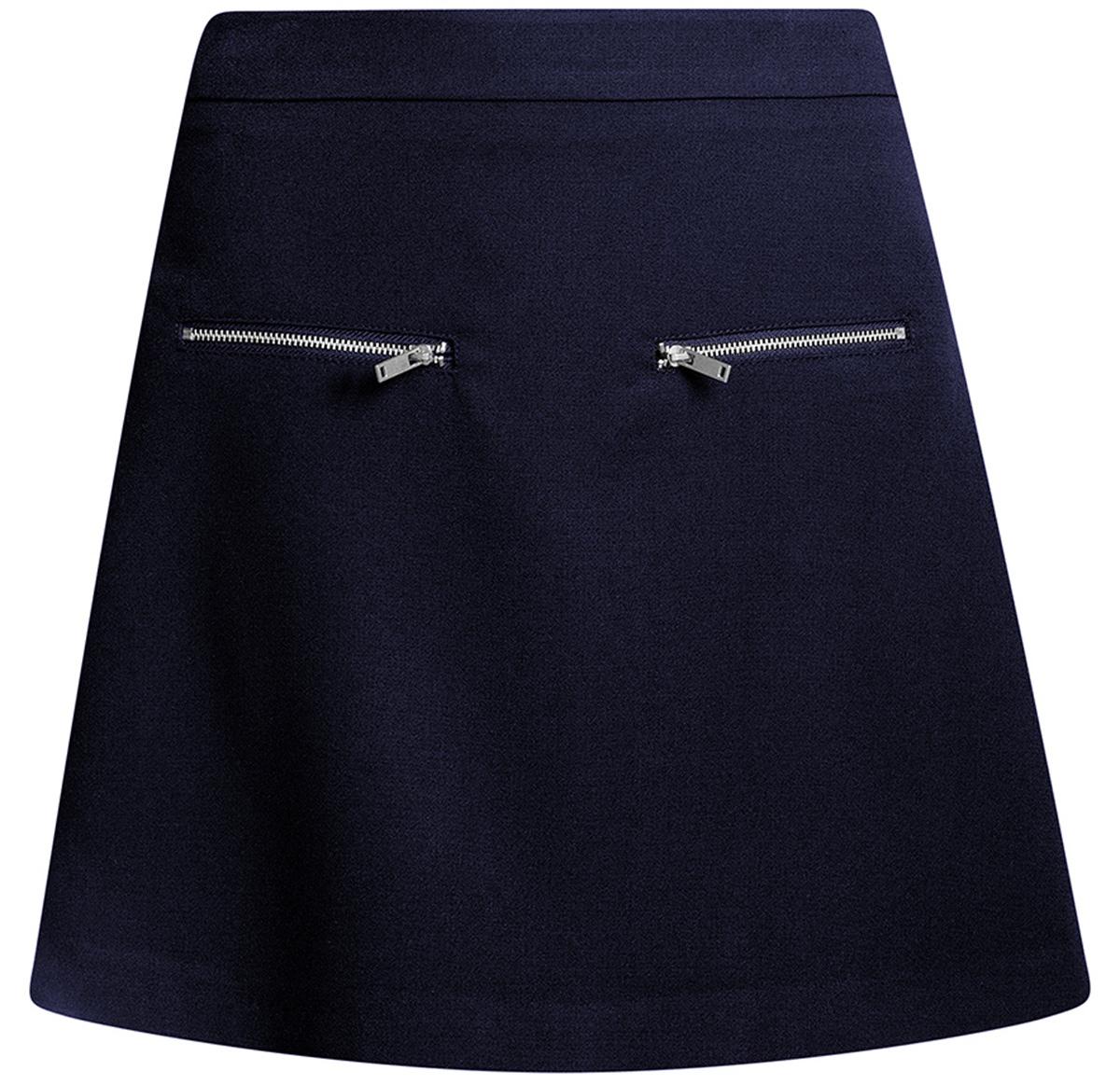 Юбка oodji Ultra, цвет: темно-синий. 11600436/31291/7900N. Размер 40-170 (46-170)11600436/31291/7900NСтильная мини--юбка в форме трапеции выполнена из высококачественного материала. Спереди модель декорирована металлическими молниями. Сзади юбка застегивается на потайную застежку-молнию.