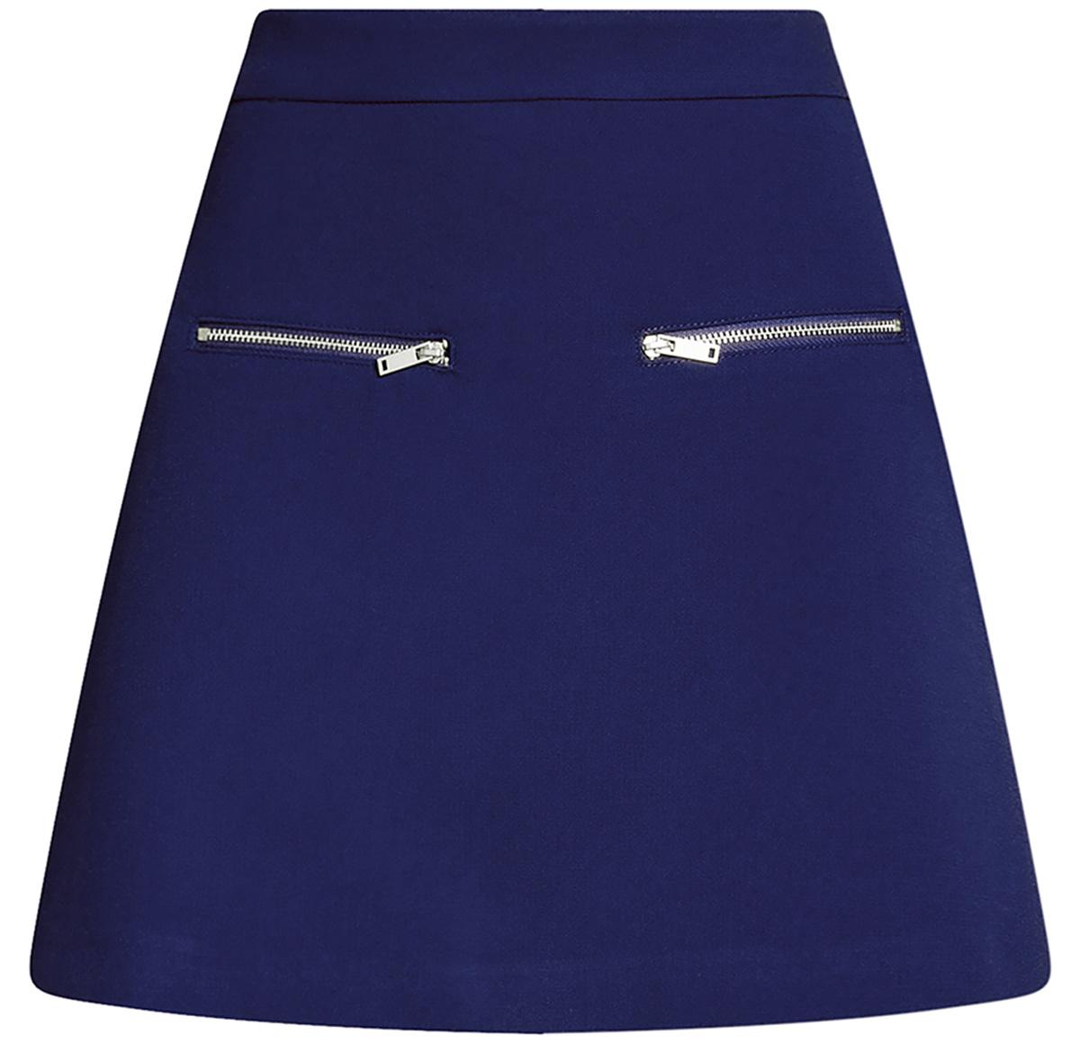 Юбка oodji Ultra, цвет: синий. 11600436/31291/7500N. Размер 34-170 (40-170)11600436/31291/7500NСтильная мини--юбка в форме трапеции выполнена из высококачественного материала. Спереди модель декорирована металлическими молниями. Сзади юбка застегивается на потайную застежку-молнию.