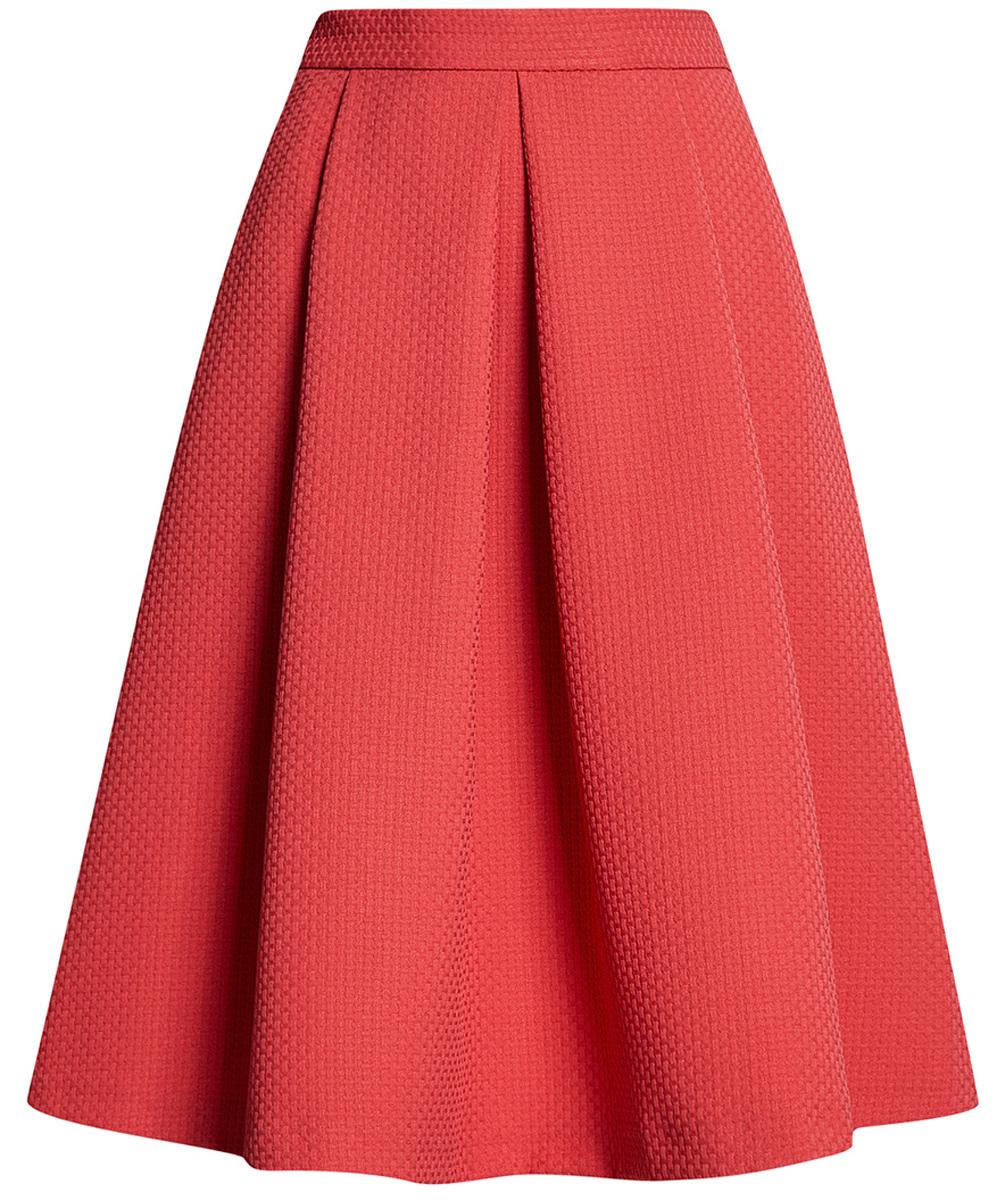 Юбка oodji Ultra, цвет: красный. 11600437/46417/4500N. Размер 34-170 (40-170)11600437/46417/4500NМодная расклешенная юбка с широкими складками выполнена из фактурной ткани. Сбоку модель застегивается на потайную застежку-молнию.