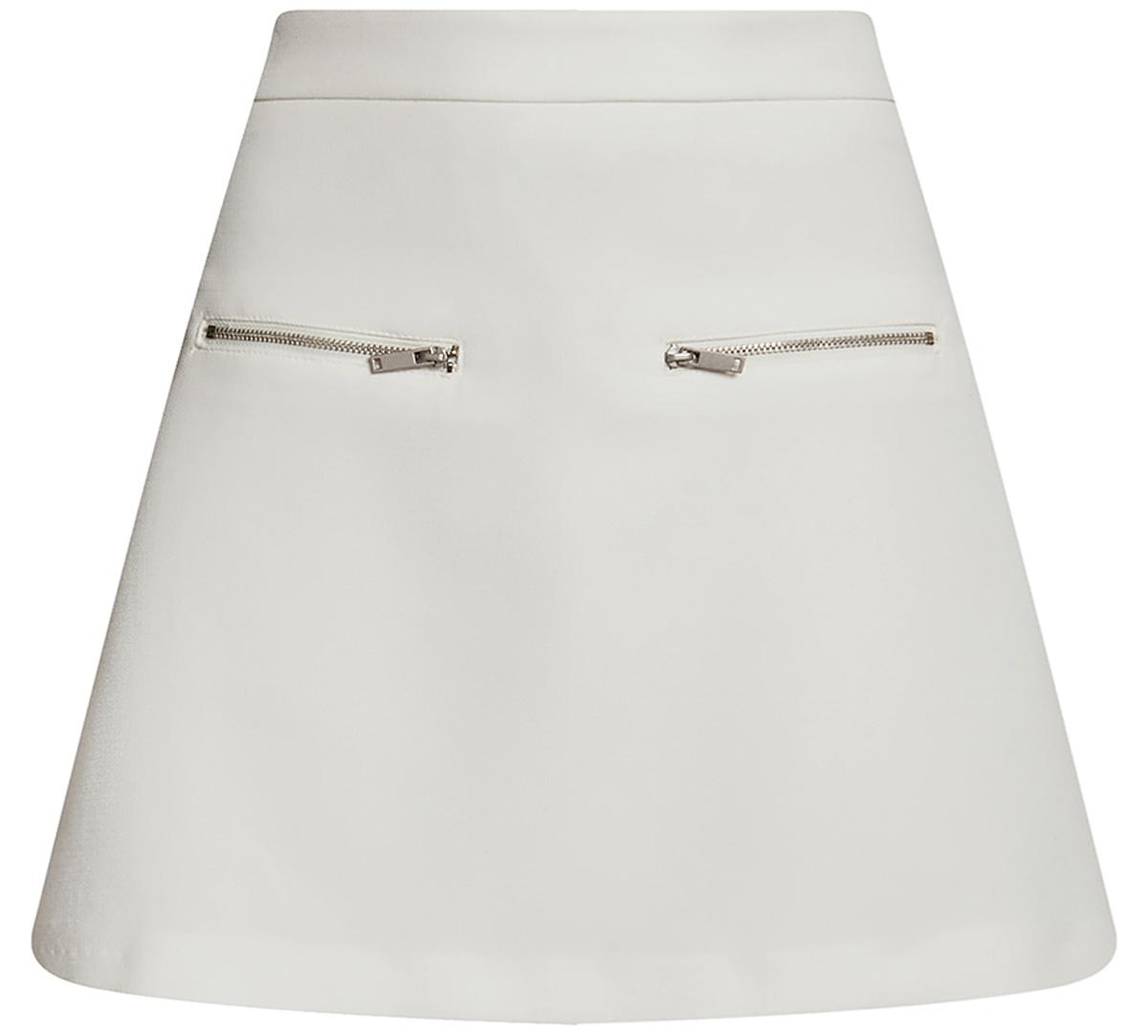 Юбка oodji Ultra, цвет: белый. 11600436/31291/1200N. Размер 36-170 (42-170)11600436/31291/1200NСтильная мини--юбка в форме трапеции выполнена из высококачественного материала. Спереди модель декорирована металлическими молниями. Сзади юбка застегивается на потайную застежку-молнию.