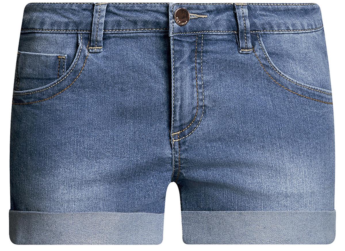 Шорты женские oodji Ultra, цвет: синий джинс. 12807025-3B/46253/7500W. Размер 29 (48)12807025-3B/46253/7500WСтильные женские шорты oodji Ultra изготовлены из хлопка, полиэстера и эластана. Шорты застегиваются на металлическую пуговицу в поясе и ширинку на молнии. На поясе предусмотрены шлевки для ремня. Спереди расположены два втачных кармана и один накладной кармашек, сзади - два накладных кармана. Шорты оформлены эффектом потертости и декоративными отворотами.