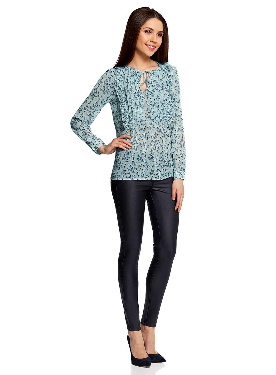 Блуза женская oodji Ultra, цвет: ментоловый, темно-синий. 11401260/38375/6579A. Размер 40-170 (46-170)11401260/38375/6579AБлузка женская oodji Ultra выполнена из высококачественного материала. Модель с круглым вырезом горловины и длинными рукавами. Рукава дополнены манжетами с пуговицами. Сверху модель оформлена рюшами.