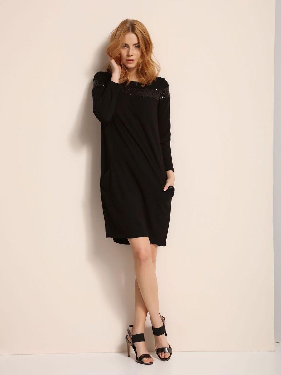 Платье Top Secret, цвет: черный. SSU1775CA. Размер 38 (46)SSU1775CAПлатье Top Secret выполнено из полиэстера, вискозы и эластана. Модель с круглым вырезом горловины и длинными рукавами.