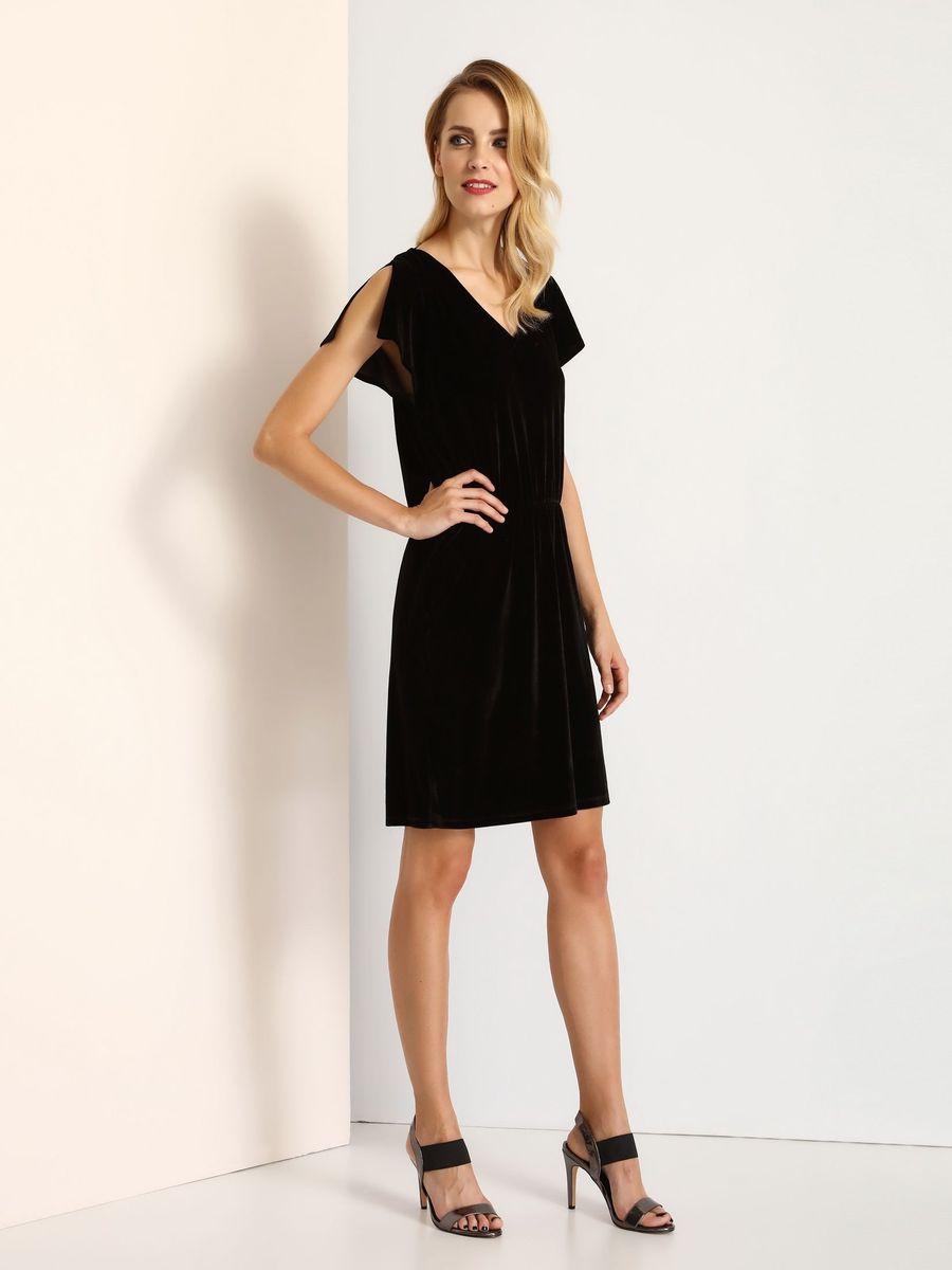 Платье Top Secret, цвет: черный. SSU1769CA. Размер 40 (48)SSU1769CAПлатье Top Secret выполнено из полиэстера и эластана. Модель с V-образным вырезом горловины сзади завязывается на завязки.